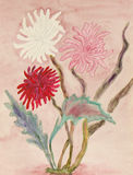 Three chrysanthemum, watercolours Stock Photos