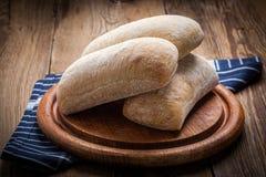 Three ciabatta bread buns. Royalty Free Stock Photos