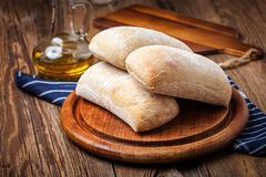 Three ciabatta bread buns. Royalty Free Stock Images
