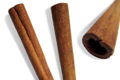 Three cinnamon bark Royalty Free Stock Photography