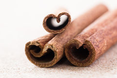 Three cinnamon sticks on corkwood background. Space for text Stock Photography