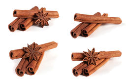 Three cinnamon sticks with star anise isolated on white background. Collection or set Stock Image