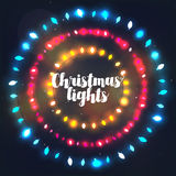 Three circle Christmas light borders of different colors Royalty Free Stock Image