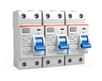 Three Circuit breakers isolated on white Royalty Free Stock Images