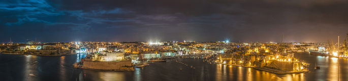 Three Cities as seen from Valletta, Malta. Three Cities (Vittoriosa, Senglea and Cospicua) waterfront as seen from Valletta, Malta Royalty Free Stock Images