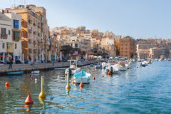 Three Cities in Malta. Marina and waterfront in Birgu, one of the Three Cities in Malta Stock Image
