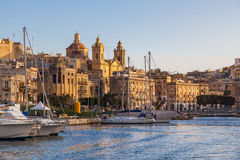 Three Cities in Malta. Marina and waterfront in Birgu, one of the Three Cities in Malta Stock Images
