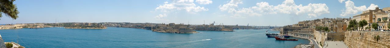 Three Cities Panorama. 220 degree panorama of the Three Cities, taken from Valetta's Lower Baracca Gardens. The image is combined from 15 individual shots Royalty Free Stock Image