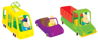 Three city vehicles. With driver Royalty Free Illustration
