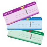 Three Classes of Blank Flight Boarding Pass Royalty Free Stock Photography