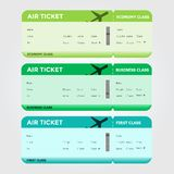 Three Classes of Blank Flight Boarding Pass Green. Shades. Vector illustrations Royalty Free Stock Photography