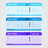 Three Classes Boarding Pass Blue Tint Royalty Free Stock Images