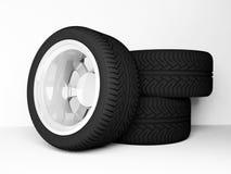 Three classic automobile wheels Royalty Free Stock Image