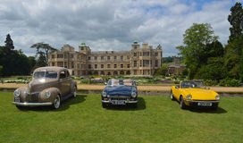 Three classic cars on show at Audley end House. Stock Image