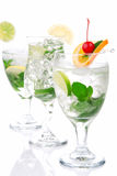 Three Classic Citrus Mojito cocktails Royalty Free Stock Photos