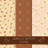Three classic coffee patterns. Collection of elegant classic seamless patterns. Coffee theme. Unique seamless patterns for cafes, websites, scrapbook projects Stock Images