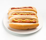 Three Classic Hotdogs Stock Photos