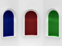 Three classic niches with illumination vector illustration