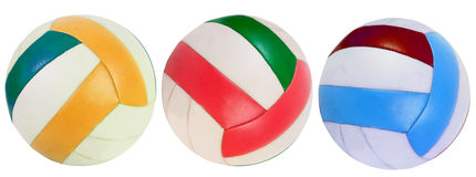 Three classic volley balls. Isolated Stock Photo