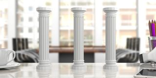 Three classical pillars on an office desk, blur background. 3d illustration. Sustainability concept.Three classical pillars on an office desk, blurred background Royalty Free Stock Image