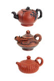 Three clay teapots Royalty Free Stock Photography