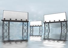 Three clear billboards construction in water Stock Photos