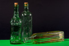 Three clear decorated bottles. Stock Images
