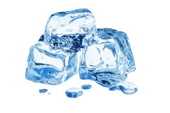 Three clear ice cubes,with water droplets Royalty Free Stock Photos