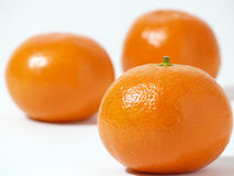 Three clementines on a white background Stock Photography