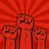 Three clenched fists on red grunge background with sun rays. Vector. Three clenched fists raised in protest. Retro style poster. Protest, strength, freedom Stock Photography