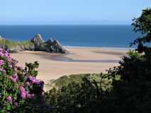 Three cliffs bay. Naturally framed royalty free stock photos