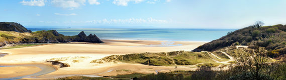 Three Cliffs bay banner Stock Photography