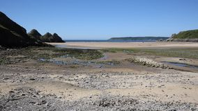 Three Cliffs Bay beach the Gower PeninsulaWales uk stock video footage