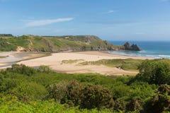 Three Cliffs Bay the Gower Peninsula Swansea Wales uk Stock Photo