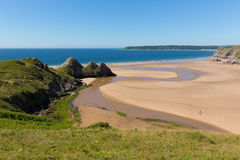 Three Cliffs Bay the Gower Wales uk in summer sunshine Stock Photo