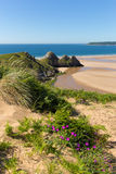 Three Cliffs Bay the Gower Wales uk in summer sunshine beautiful peninsula Royalty Free Stock Photography