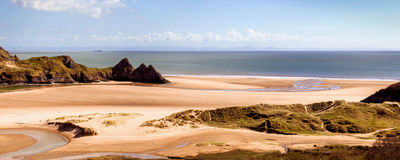 Three cliffs bay panorama Royalty Free Stock Photo
