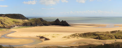 Three Cliffs Bay panorama Royalty Free Stock Image