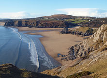 Three Cliffs Beach & Bay, The Gower Royalty Free Stock Images