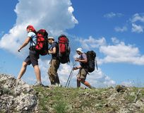 Three climbers 1 stock photo