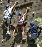 Three climbers. Who were roped together, were photographed during a teambuilding activity royalty free stock photos