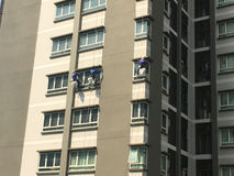 Three climbers maintenance windows and glass Royalty Free Stock Photos