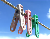 Three clips. On a rope royalty free stock photography