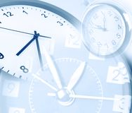 Three clock faces. Blended together. Blue tone Stock Image