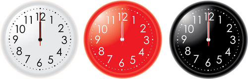 Three clocks. Different colors clocks with hands on 12 o'clock Vector Illustration