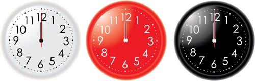 Three clocks vector illustration