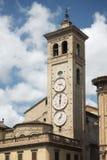 Three clocks at the church tower of Tolentino Stock Photos