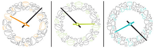 Three clocks showing eating and drinking time. Conceptual vector of three clocks showing specific times to eat or drink with ornamental ring patterns of cups for Royalty Free Stock Photo