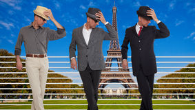 Three clones or triplets in Paris Royalty Free Stock Photos