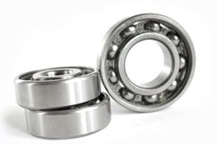 Bearings. Three close-up bearings on the white background stock image
